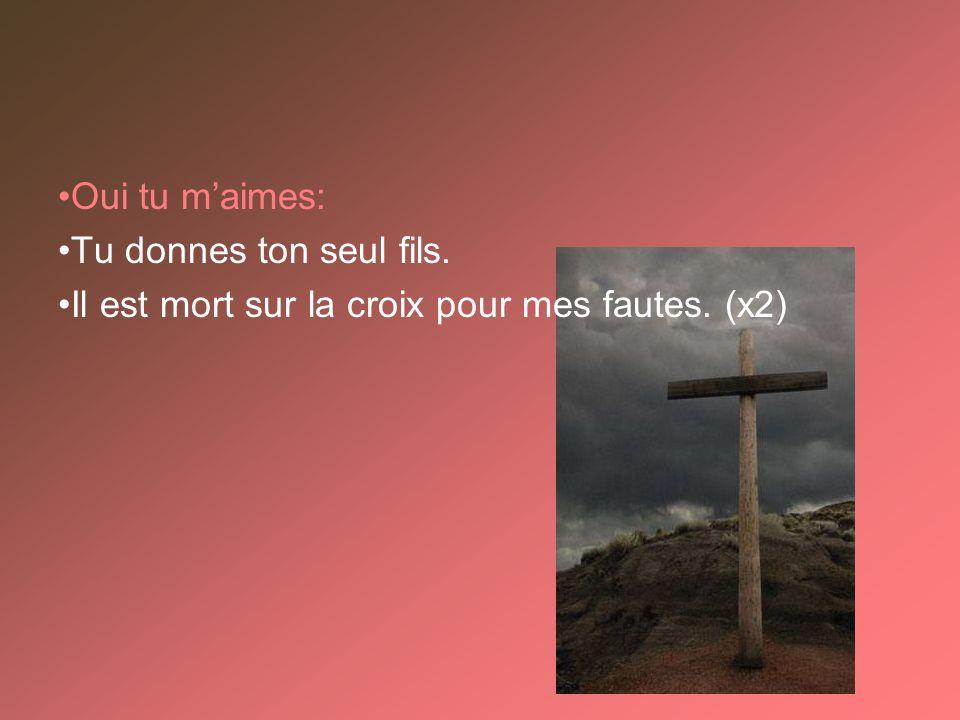 Oui tu maimes: Tu donnes ton seul fils. Il est mort sur la croix pour mes fautes. (x2)