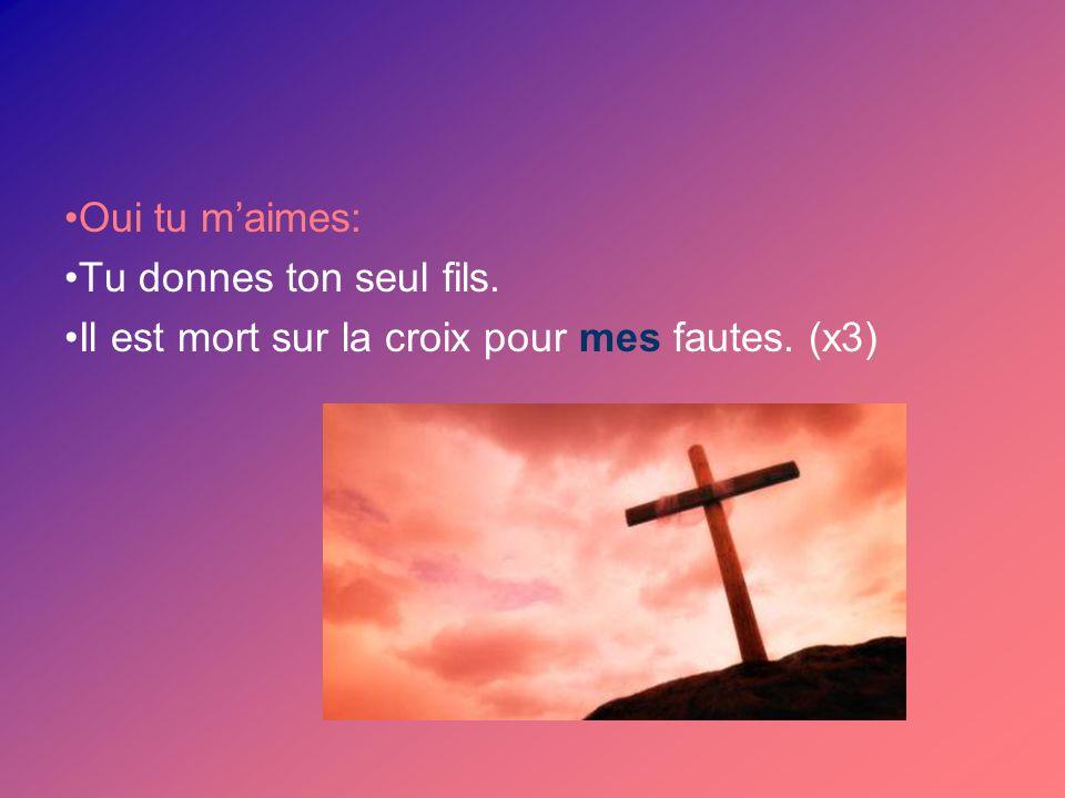 Oui tu maimes: Tu donnes ton seul fils. Il est mort sur la croix pour mes fautes. (x3)