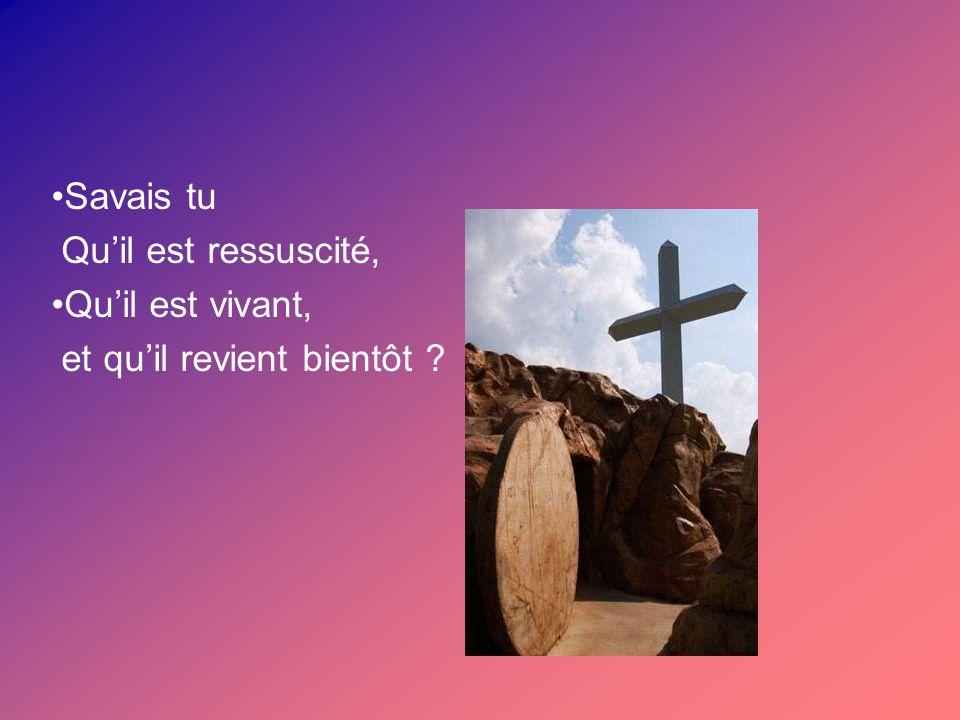 Savais tu Quil est ressuscité, Quil est vivant, et quil revient bientôt ?