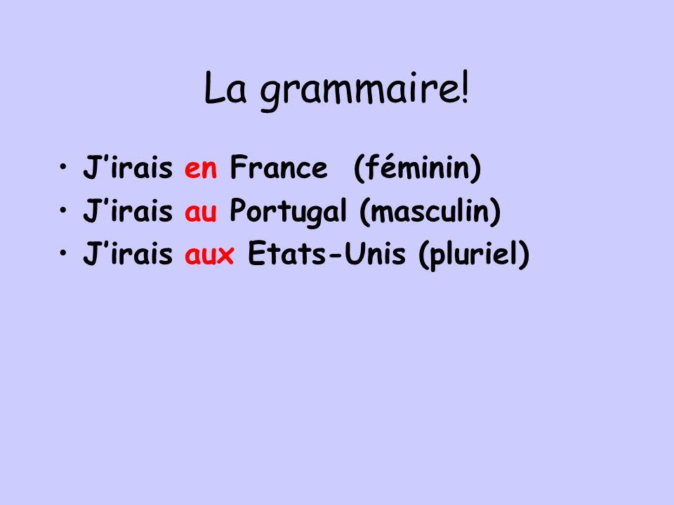 La grammaire! Jirais en France (féminin) Jirais au Portugal (masculin) Jirais aux Etats-Unis (pluriel)