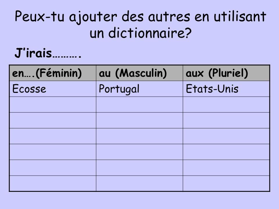 Peux-tu ajouter des autres en utilisant un dictionnaire? en….(Féminin)au (Masculin)aux (Pluriel) EcossePortugalEtats-Unis Jirais……….