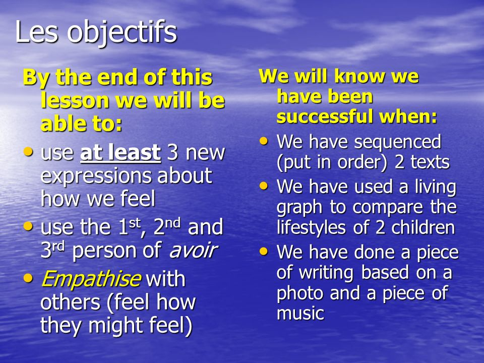 Les objectifs By the end of this lesson we will be able to: use at least 3 new expressions about how we feel use at least 3 new expressions about how we feel use the 1 st, 2 nd and 3 rd person of avoir use the 1 st, 2 nd and 3 rd person of avoir Empathise with others (feel how they might feel) Empathise with others (feel how they might feel) We will know we have been successful when: We have sequenced (put in order) 2 texts We have sequenced (put in order) 2 texts We have used a living graph to compare the lifestyles of 2 children We have used a living graph to compare the lifestyles of 2 children We have done a piece of writing based on a photo and a piece of music We have done a piece of writing based on a photo and a piece of music