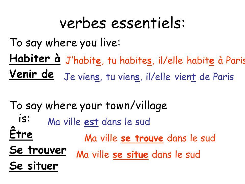 verbes essentiels: To say where you live: Habiter à Venir de To say where your town/village is: Être Se trouver Se situer Jhabite, tu habites, il/elle