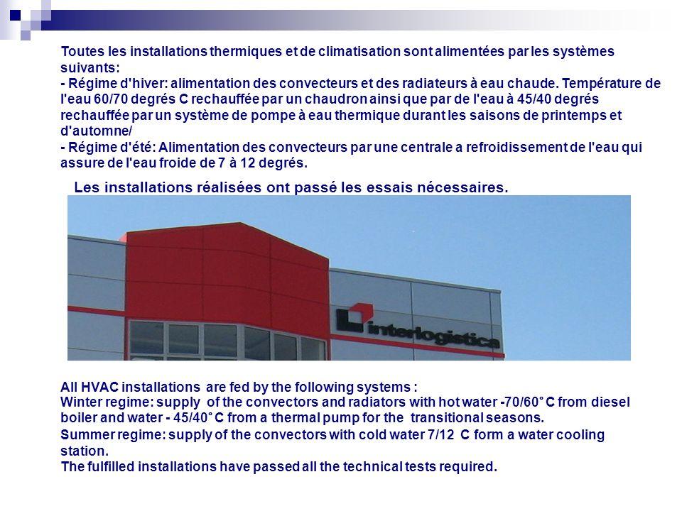 Toutes les installations thermiques et de climatisation sont alimentées par les systèmes suivants: - Régime d hiver: alimentation des convecteurs et des radiateurs à eau chaude.
