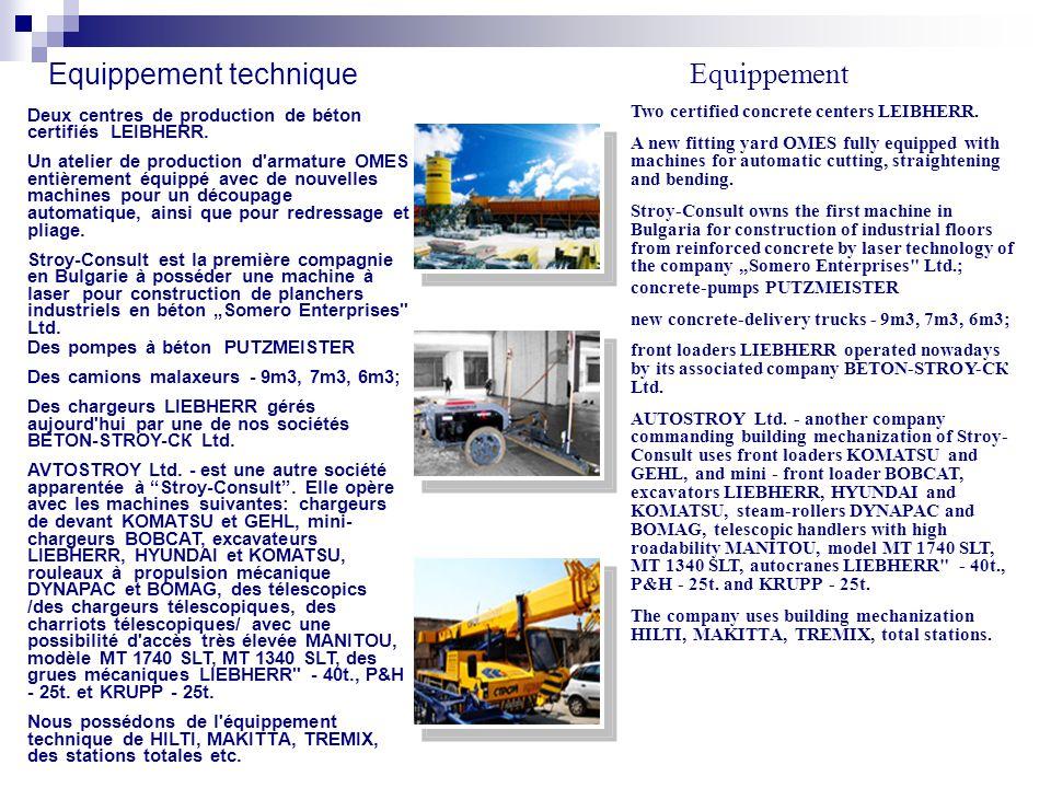 Equippement technique Deux centres de production de béton certifiés LEIBHERR.