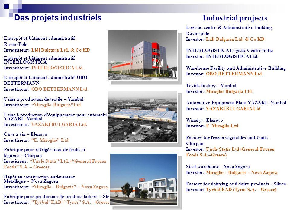 Des projets industriels Entrepôt et bâtiment administratif – Ravno Pole Investisseur: Lidl Bulgaria Ltd.
