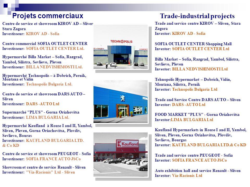 Projets commerciaux Centre de service et showroom KIROV AD – Sliven, Stara Zagora Investisseur: KIROV AD - Sofia Centre commercial SOFIA OUTLET CENTER Investisseur: SOFIA OUTLET CENTER Ltd.