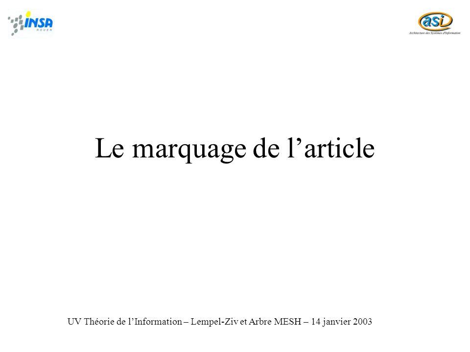 Le marquage de larticle UV Théorie de lInformation – Lempel-Ziv et Arbre MESH – 14 janvier 2003