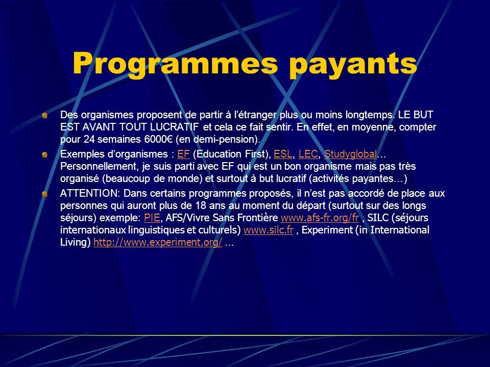 Programmes payants Des organismes proposent de partir à létranger plus ou moins longtemps.