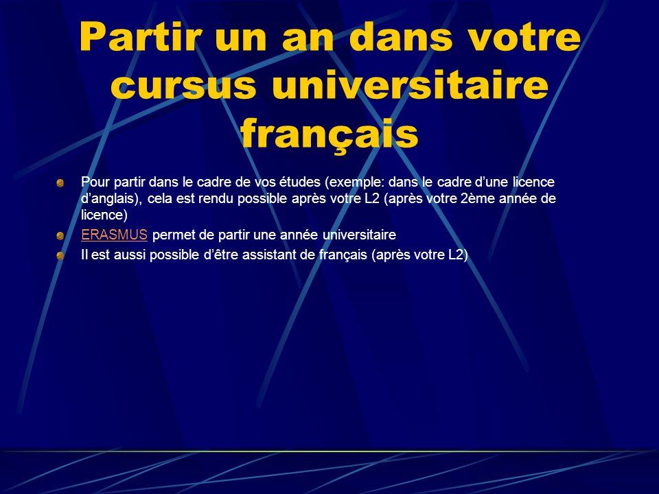 Partir un an dans votre cursus universitaire français Pour partir dans le cadre de vos études (exemple: dans le cadre dune licence danglais), cela est rendu possible après votre L2 (après votre 2ème année de licence) ERASMUSERASMUS permet de partir une année universitaire Il est aussi possible dêtre assistant de français (après votre L2)