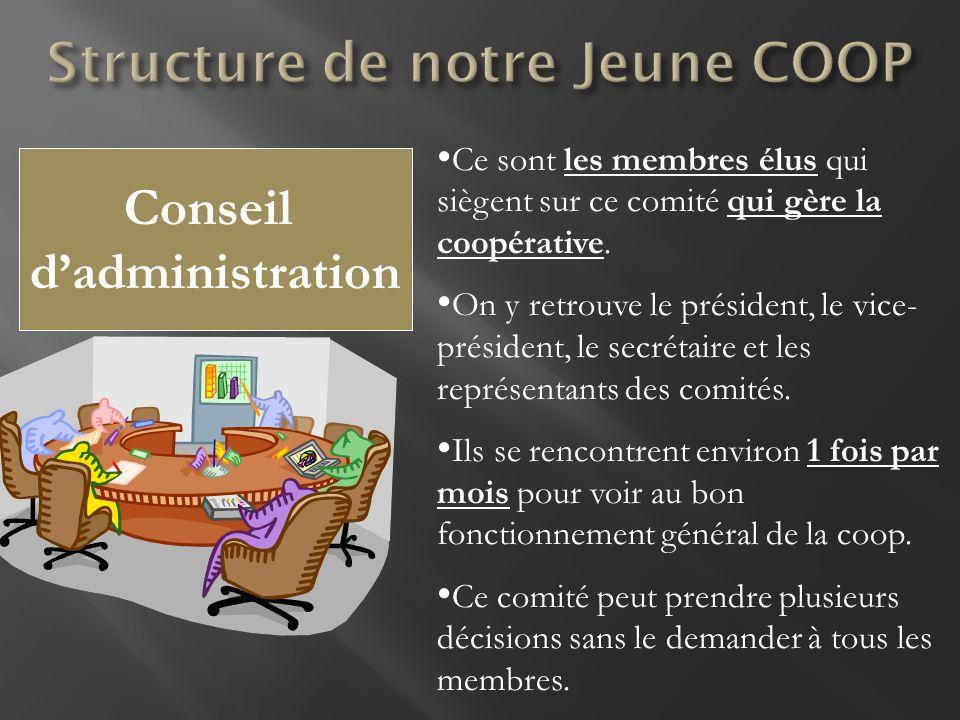 Conseil dadministration Ce sont les membres élus qui siègent sur ce comité qui gère la coopérative. On y retrouve le président, le vice- président, le