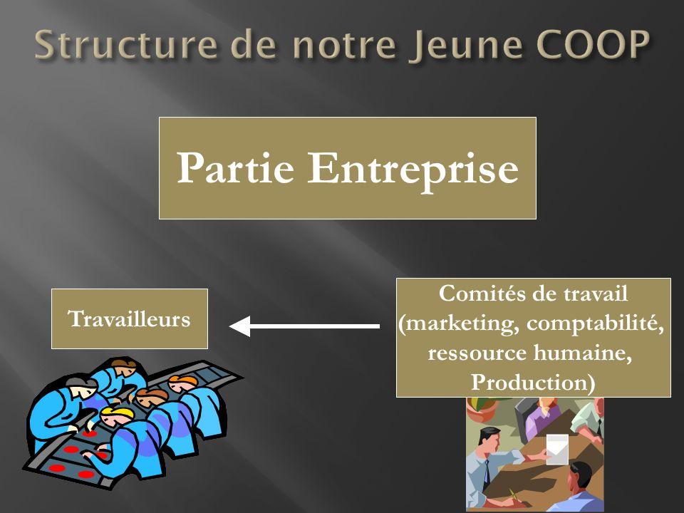 Comités de travail (marketing, comptabilité, ressource humaine, Production) Partie Entreprise Travailleurs