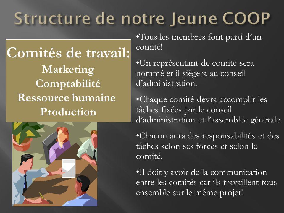 Comités de travail: Marketing Comptabilité Ressource humaine Production Tous les membres font parti dun comité! Un représentant de comité sera nommé e