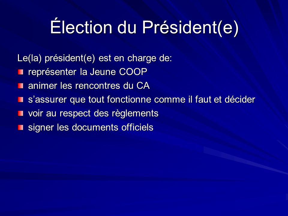 Élection du Président(e) Le(la) président(e) est en charge de: représenter la Jeune COOP animer les rencontres du CA sassurer que tout fonctionne comm