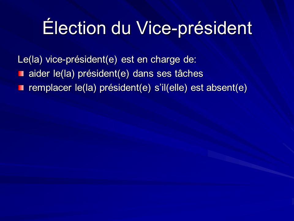 Élection du Vice-président Le(la) vice-président(e) est en charge de: aider le(la) président(e) dans ses tâches remplacer le(la) président(e) sil(elle