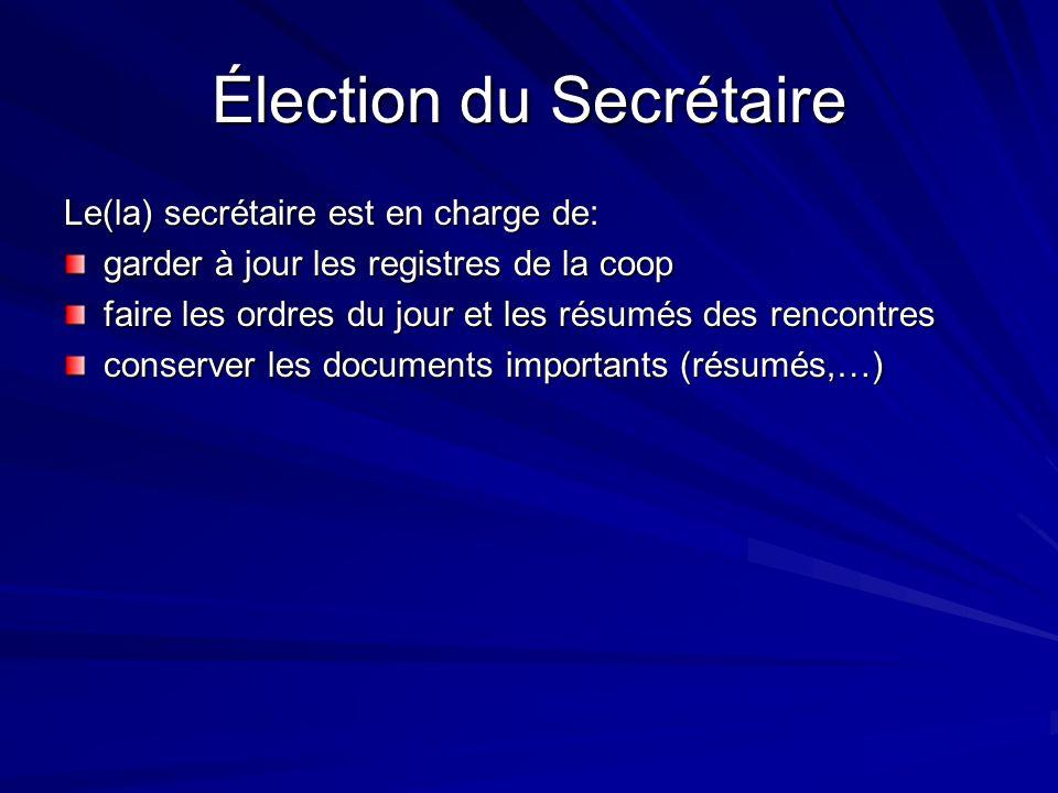 Élection du Secrétaire Le(la) secrétaire est en charge de: garder à jour les registres de la coop faire les ordres du jour et les résumés des rencontr