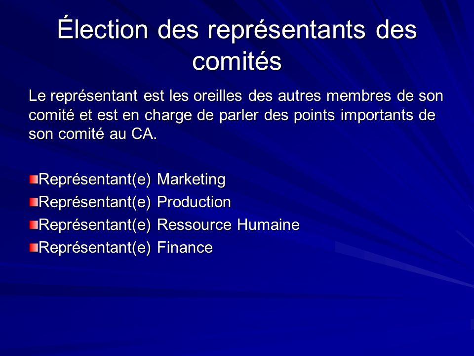 Élection des représentants des comités Le représentant est les oreilles des autres membres de son comité et est en charge de parler des points importa