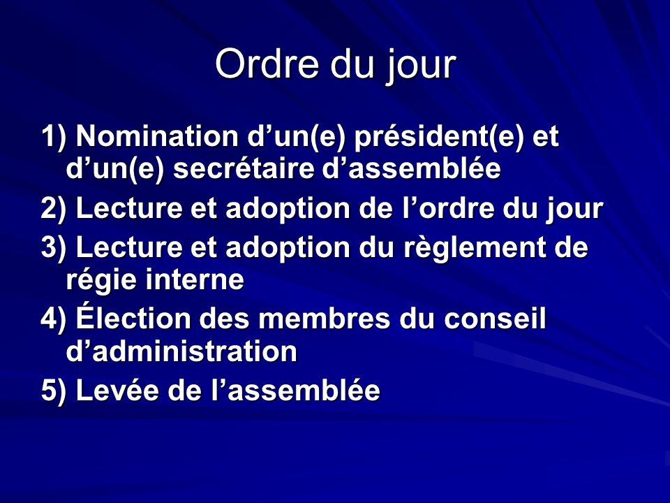 Ordre du jour 1) Nomination dun(e) président(e) et dun(e) secrétaire dassemblée 2) Lecture et adoption de lordre du jour 3) Lecture et adoption du règ