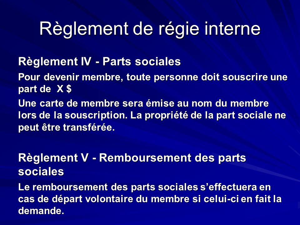Règlement de régie interne Règlement IV - Parts sociales Pour devenir membre, toute personne doit souscrire une part de X $ Une carte de membre sera é