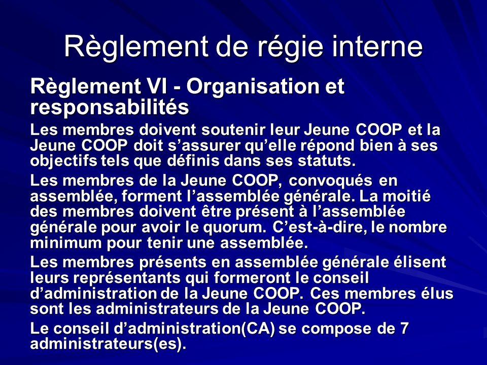 Règlement de régie interne Règlement VI - Organisation et responsabilités Les membres doivent soutenir leur Jeune COOP et la Jeune COOP doit sassurer