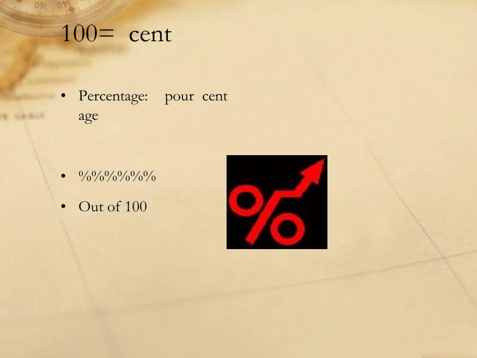 100= cent Percentage: pour cent age %%% Out of 100