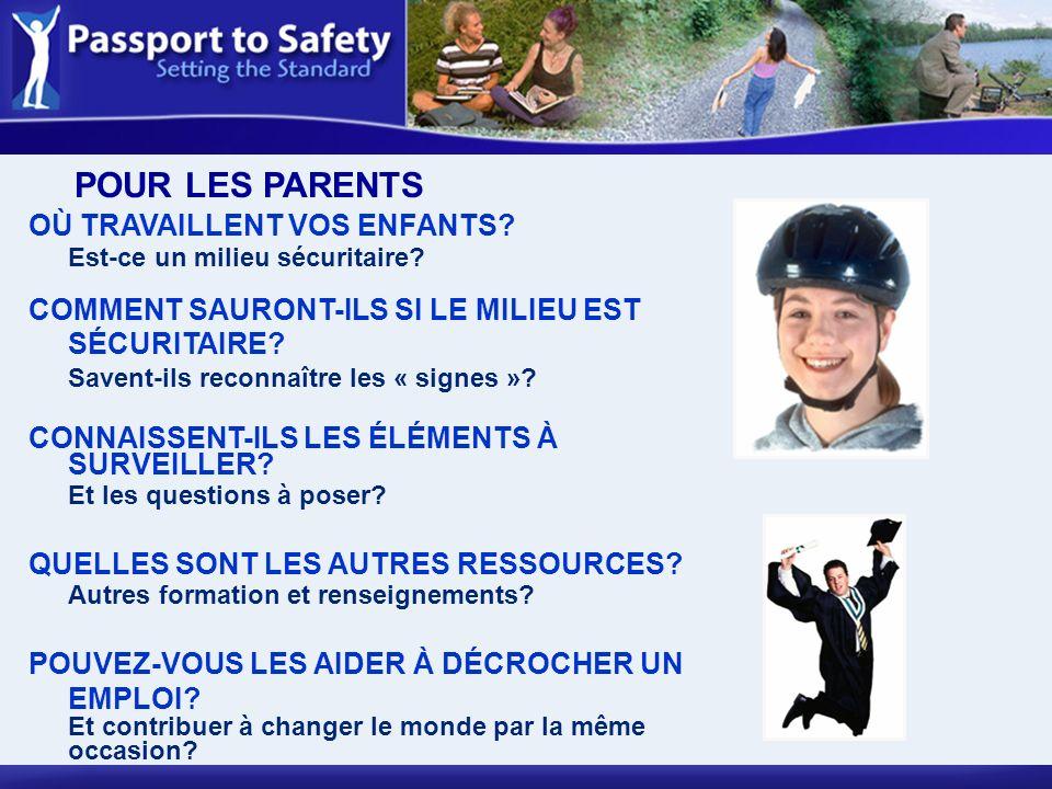 OÙ TRAVAILLENT VOS ENFANTS? Est-ce un milieu sécuritaire? COMMENT SAURONT-ILS SI LE MILIEU EST SÉCURITAIRE? Savent-ils reconnaître les « signes »? CON
