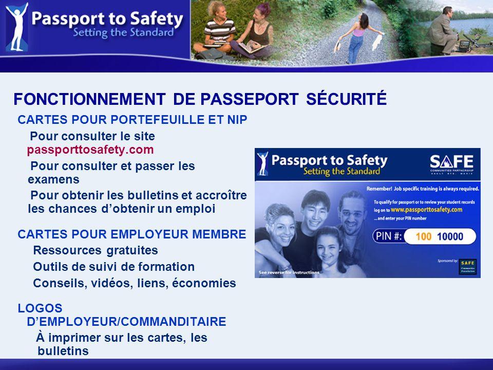 FONCTIONNEMENT DE PASSEPORT SÉCURITÉ CARTES POUR PORTEFEUILLE ET NIP Pour consulter le site passporttosafety.com Pour consulter et passer les examens