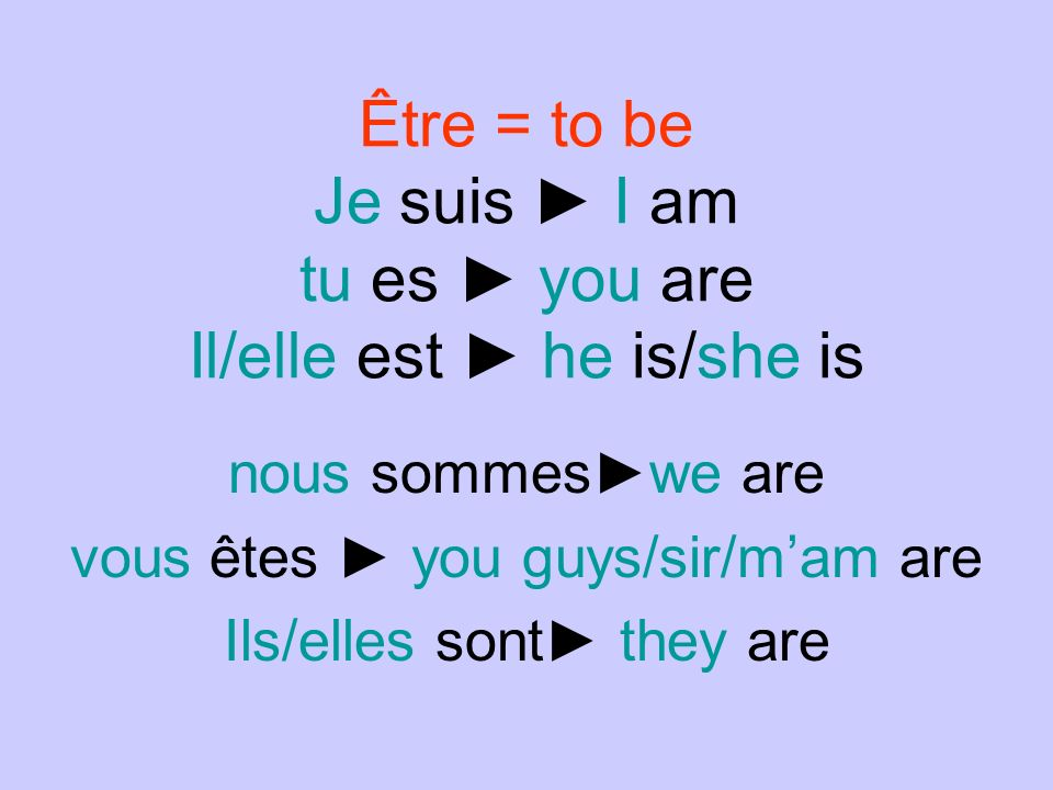 AVOIR =TO HAVE Jai I have tu as you have Il/elle a he has/she has nous avonswe have vous avez you guys/sir/mam have Ils/elles ont they have