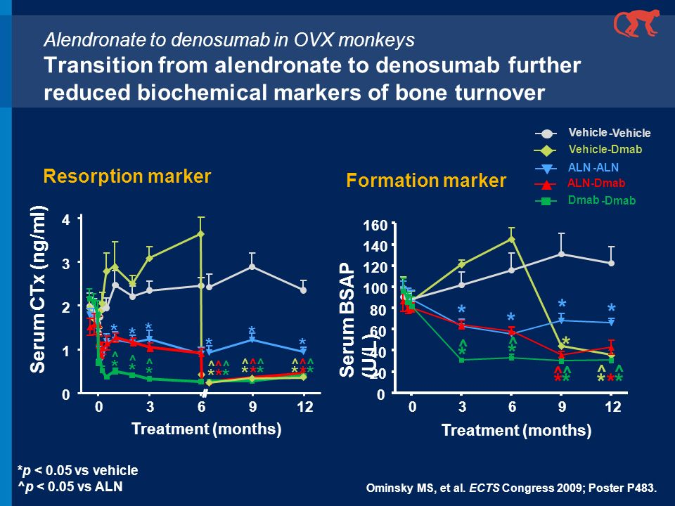 * * * * * * ^ * ^ * ^ * ^ * ^ * * ^ * ^ * ^ * ^ * ^ * ^ * * * * * * Alendronate to denosumab in OVX monkeys Transition from alendronate to denosumab f