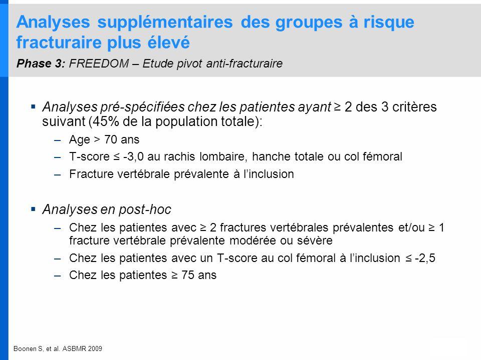 Analyses supplémentaires des groupes à risque fracturaire plus élevé Phase 3: FREEDOM – Etude pivot anti-fracturaire Analyses pré-spécifiées chez les