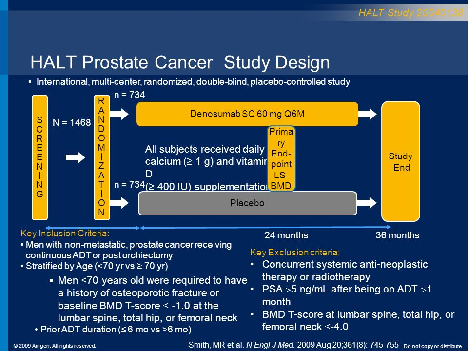 © 2009 Amgen. All rights reserved. Do not copy or distribute. HALT Prostate Cancer Study Design RANDOMIZATIONRANDOMIZATION 36 months Placebo Denosumab