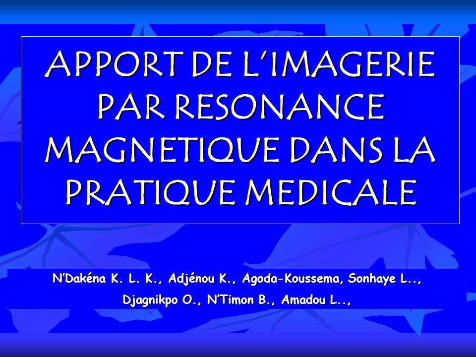 APPORT DE LIMAGERIE PAR RESONANCE MAGNETIQUE DANS LA PRATIQUE MEDICALE NDakéna K. L. K., Adjénou K., Agoda-Koussema, Sonhaye L.., Djagnikpo O., NTimon