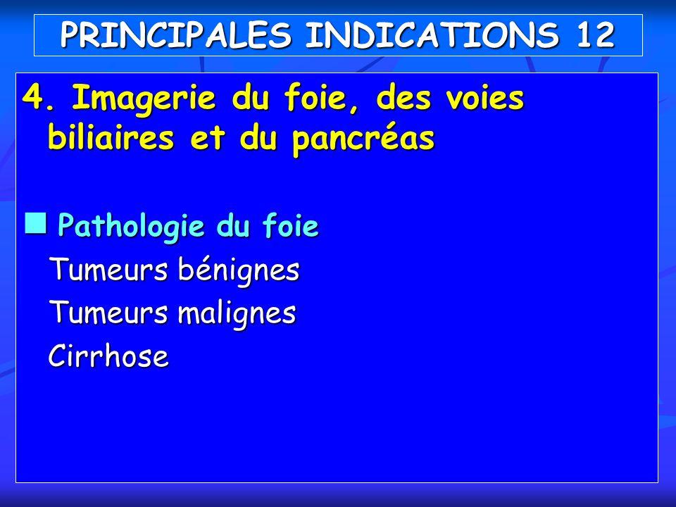 4. Imagerie du foie, des voies biliaires et du pancréas Pathologie du foie Pathologie du foie Tumeurs bénignes Tumeurs malignes Cirrhose PRINCIPALES I