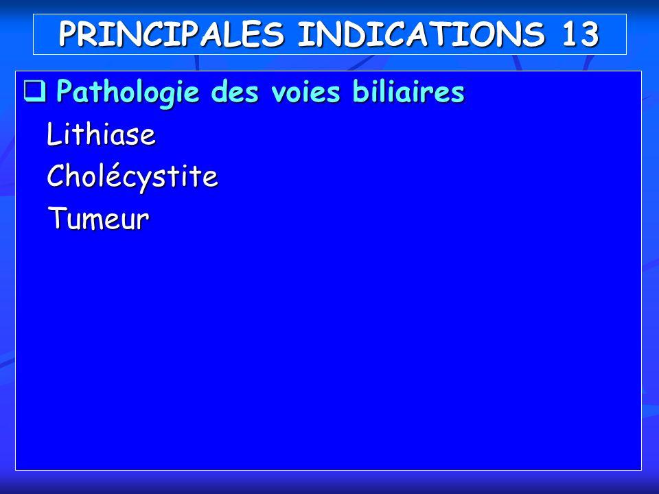 Pathologie des voies biliaires Pathologie des voies biliairesLithiaseCholécystiteTumeur PRINCIPALES INDICATIONS 13