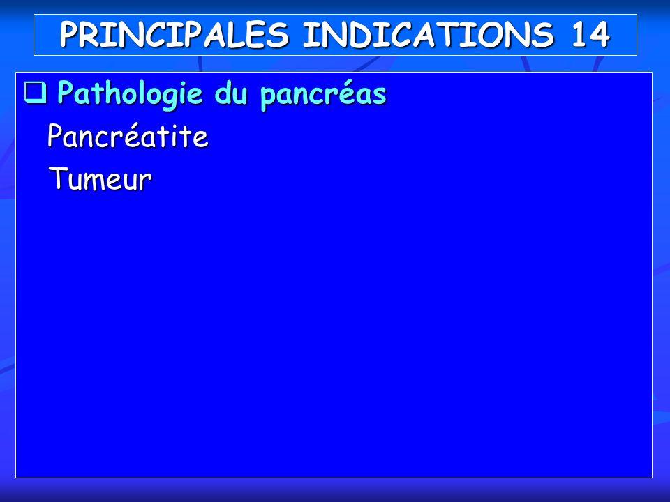 Pathologie du pancréas Pathologie du pancréasPancréatiteTumeur PRINCIPALES INDICATIONS 14