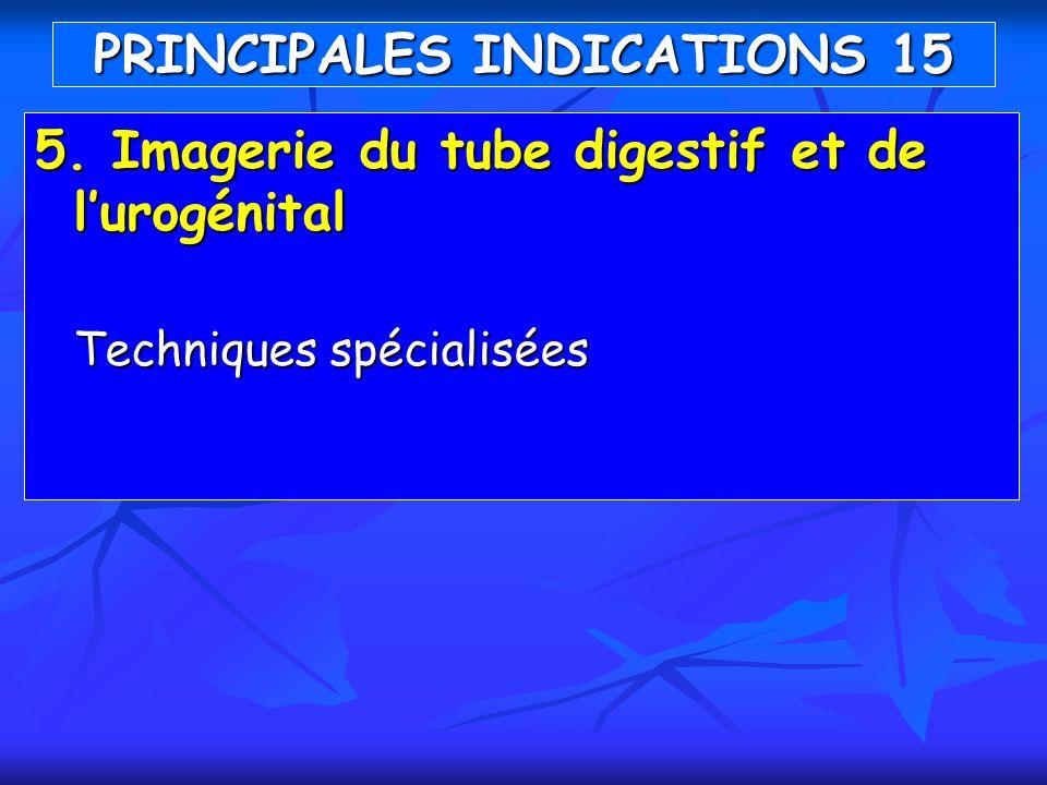 5. Imagerie du tube digestif et de lurogénital Techniques spécialisées PRINCIPALES INDICATIONS 15