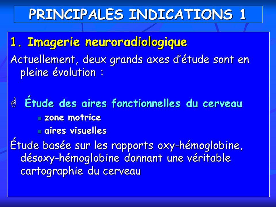 1. I magerie neuroradiologique Actuellement, deux grands axes détude sont en pleine évolution : Étude des aires fonctionnelles du cerveau Étude des ai