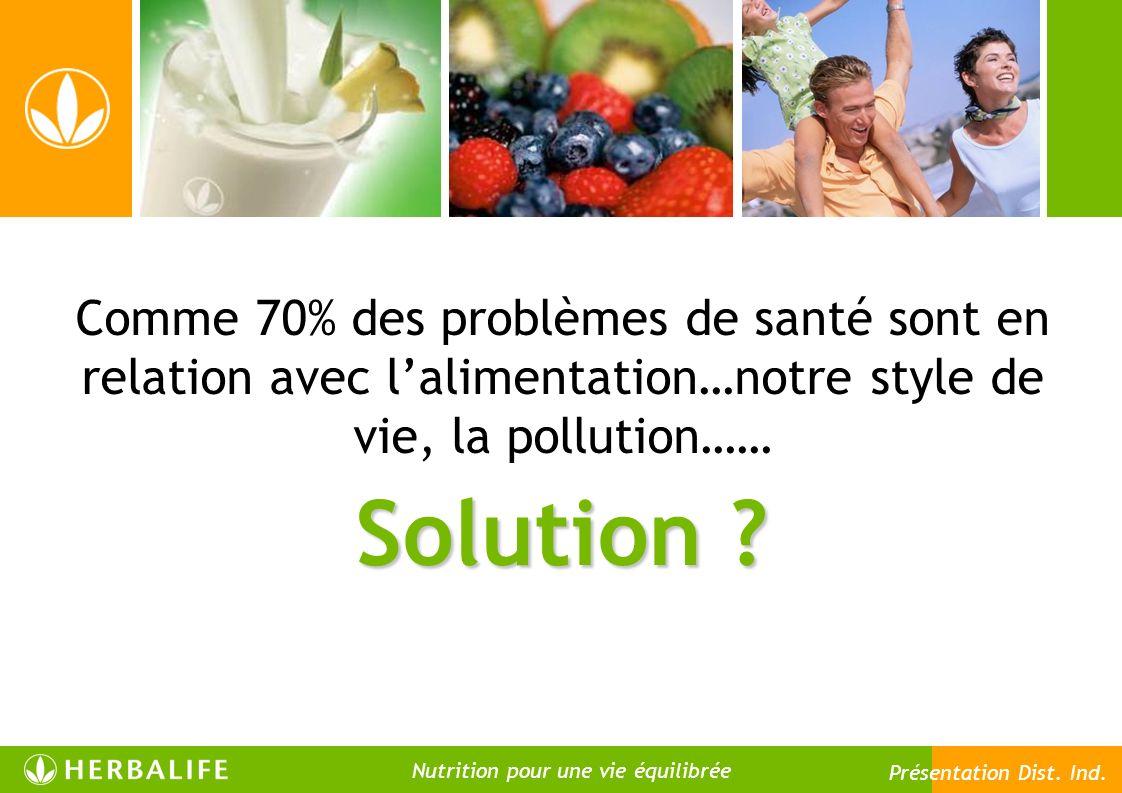 Solution ? Comme 70% des problèmes de santé sont en relation avec lalimentation…notre style de vie, la pollution…… 16 Nutrition pour une vie meilleure