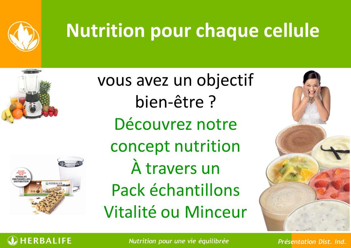 Nutrition pour chaque cellule Nutrition pour une vie meilleure Nutrition pour une vie équilibrée Présentation Dist. Ind. vous avez un objectif bien-êt