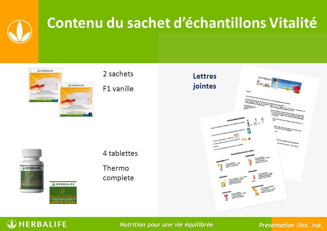 Contenu du sachet déchantillons Vitalité 2 sachets F1 vanille 4 tablettes Thermo complete Lettres jointes Nutrition pour une vie meilleure Nutrition p