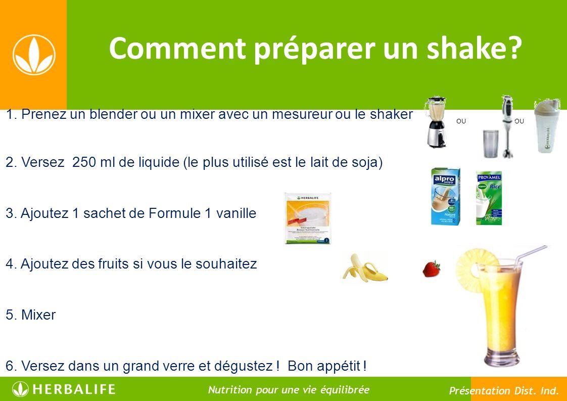 OU Comment préparer un shake? 1. Prenez un blender ou un mixer avec un mesureur ou le shaker 2. Versez 250 ml de liquide (le plus utilisé est le lait