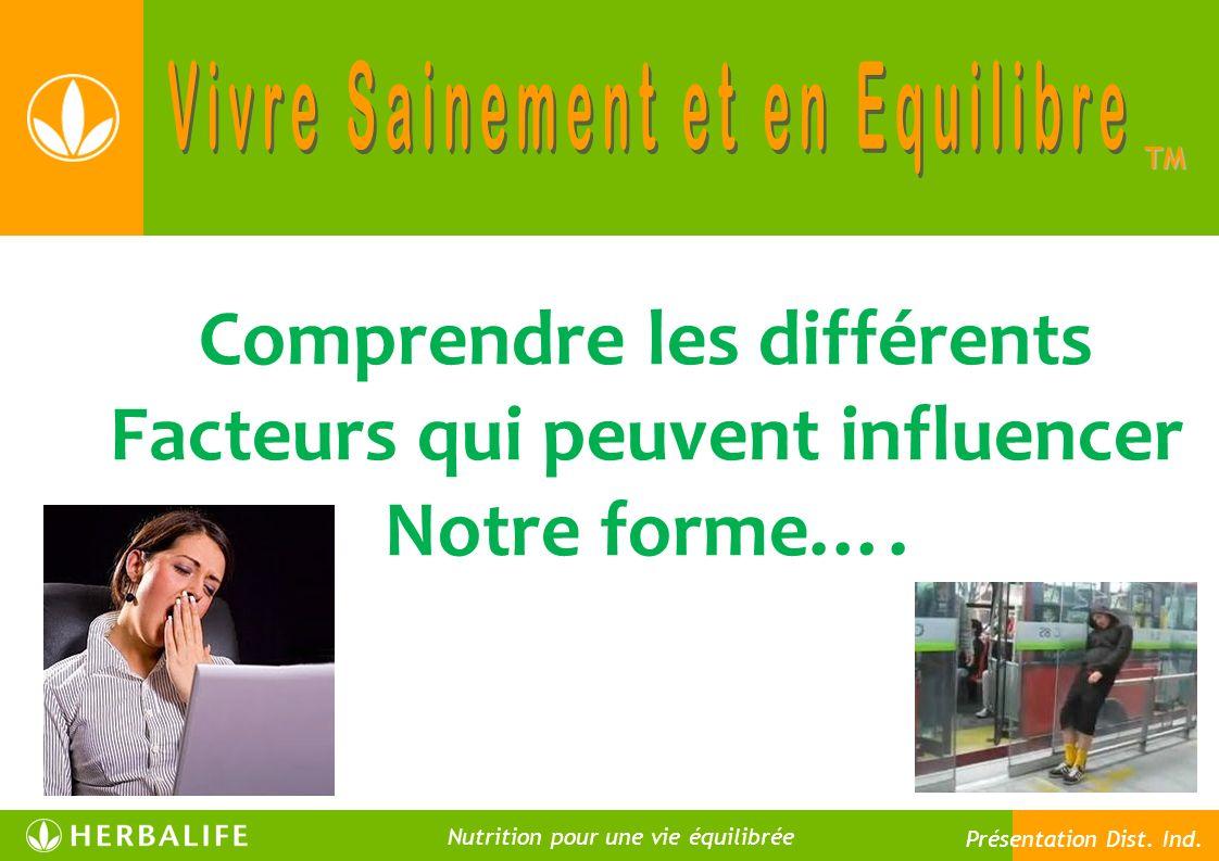 Premier facteur : La composition corporelle TM Nutrition pour une vie meilleure Nutrition pour une vie équilibrée Présentation Dist.