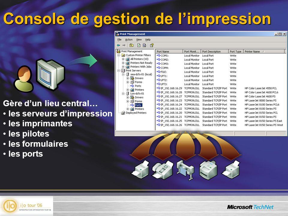 Console de gestion de limpression Gère dun lieu central… les serveurs dimpression les imprimantes les pilotes les formulaires les ports