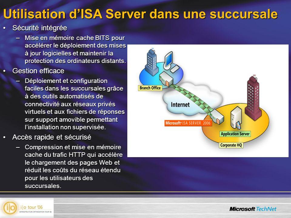 Utilisation dISA Server dans une succursale Sécurité intégréeSécurité intégrée –Mise en mémoire cache BITS pour accélérer le déploiement des mises à j