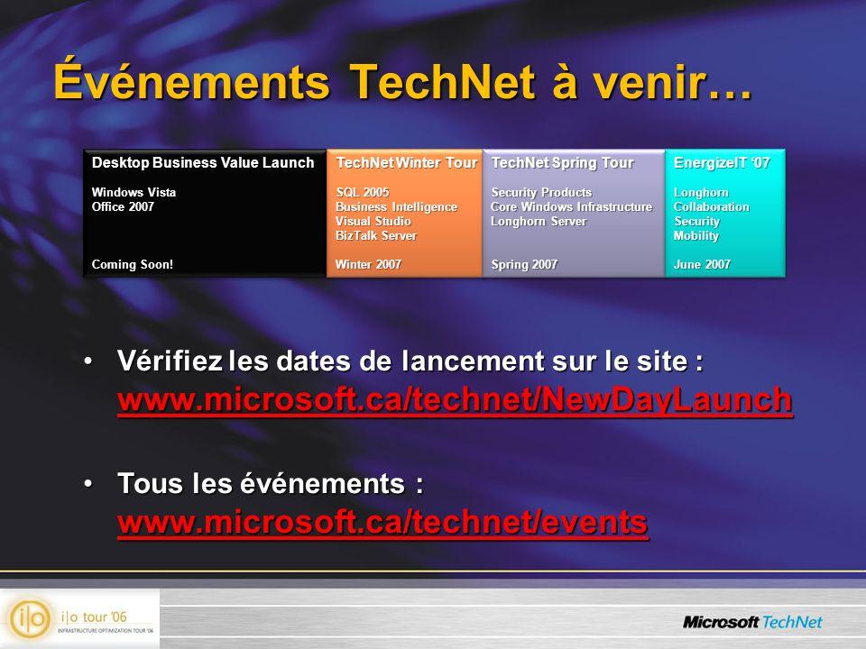 Événements TechNet à venir… Vérifiez les dates de lancement sur le site : www.microsoft.ca/technet/NewDayLaunchVérifiez les dates de lancement sur le