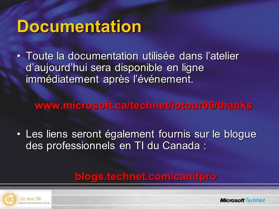 Service de fichiers répartis version 2 CapacitésCapacités –Duplication : Synchronisation efficace entre les serveurs –Espace de noms : Virtualise les serveurs de fichiers –Échelle : Milliers de serveurs, interdomaine GérabilitéGérabilité –Nouvelle console MMC 2.1 pour DFS * –Prise en charge de toutes les topologies –Rapports et diagnostiques HTML intégrés * –Trousse de gestion MOM * Efficacité du réseau étenduEfficacité du réseau étendu –Duplique seulement les sections modifiées des fichiers (compression différentielle à distance ou RDC) * –Réglage de lhoraire et du débit par intervalle de 15 minutes * –Achemine le client vers le serveur le plus près par DFSN (Distributed File System Namespaces) –Empêche la reprise en cascade des succursales * DisponibilitéDisponibilité –Algorithme de duplication de fichiers autoréparateur * –Reprise et basculement automatiques multiniveau –Utilise la copie fantôme pour les dossiers partagés –Travail hors ligne pour les sites déconnectés –Haute disponibilité de la mémoire de configuration (Active Directory) –Définition des liaisons prioritaires dans les sites * –La robustesse et la surveillance sont très importants.