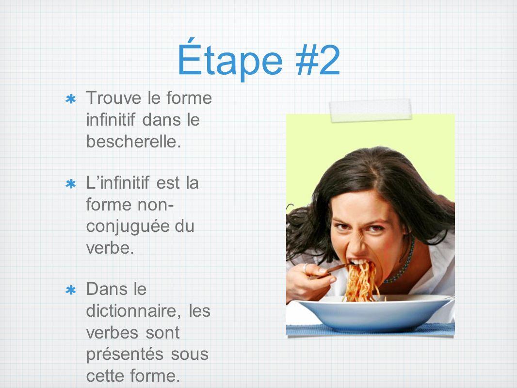 Étape #2 Trouve le forme infinitif dans le bescherelle. Linfinitif est la forme non- conjuguée du verbe. Dans le dictionnaire, les verbes sont présent