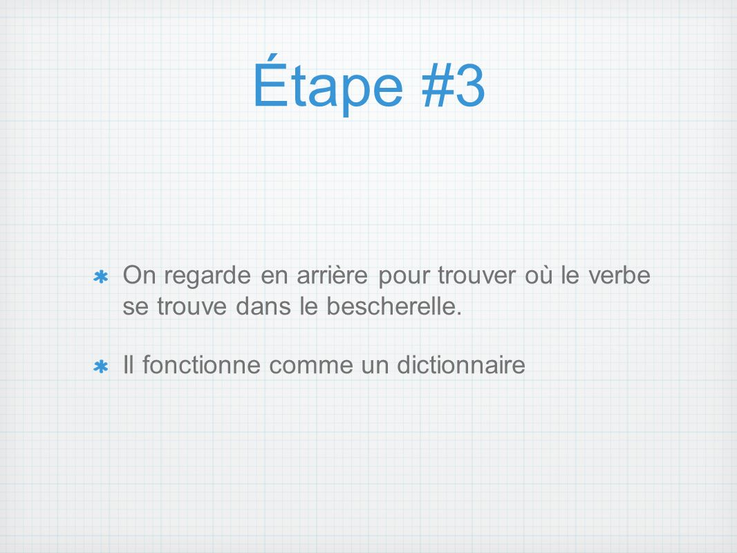 Étape #3 On regarde en arrière pour trouver où le verbe se trouve dans le bescherelle. Il fonctionne comme un dictionnaire