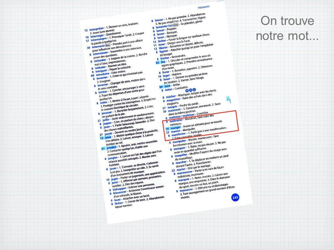 On trouve sur quelle page on trouve notre verbe...