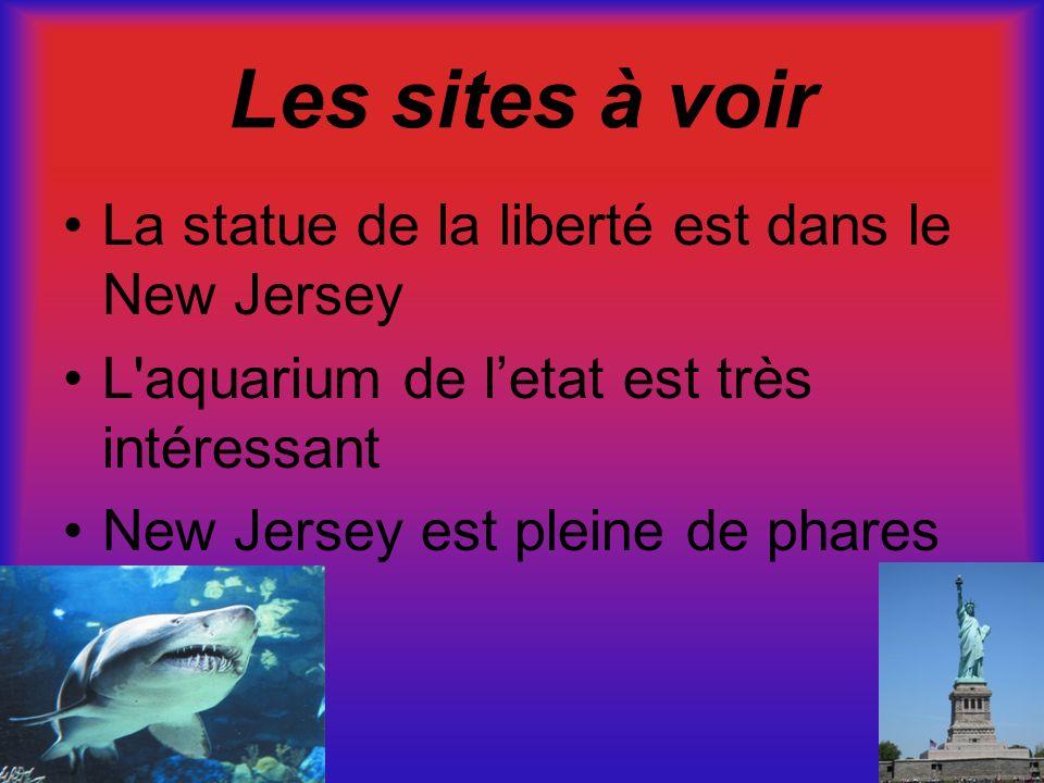 Les sites à voir La statue de la liberté est dans le New Jersey L'aquarium de letat est très intéressant New Jersey est pleine de phares